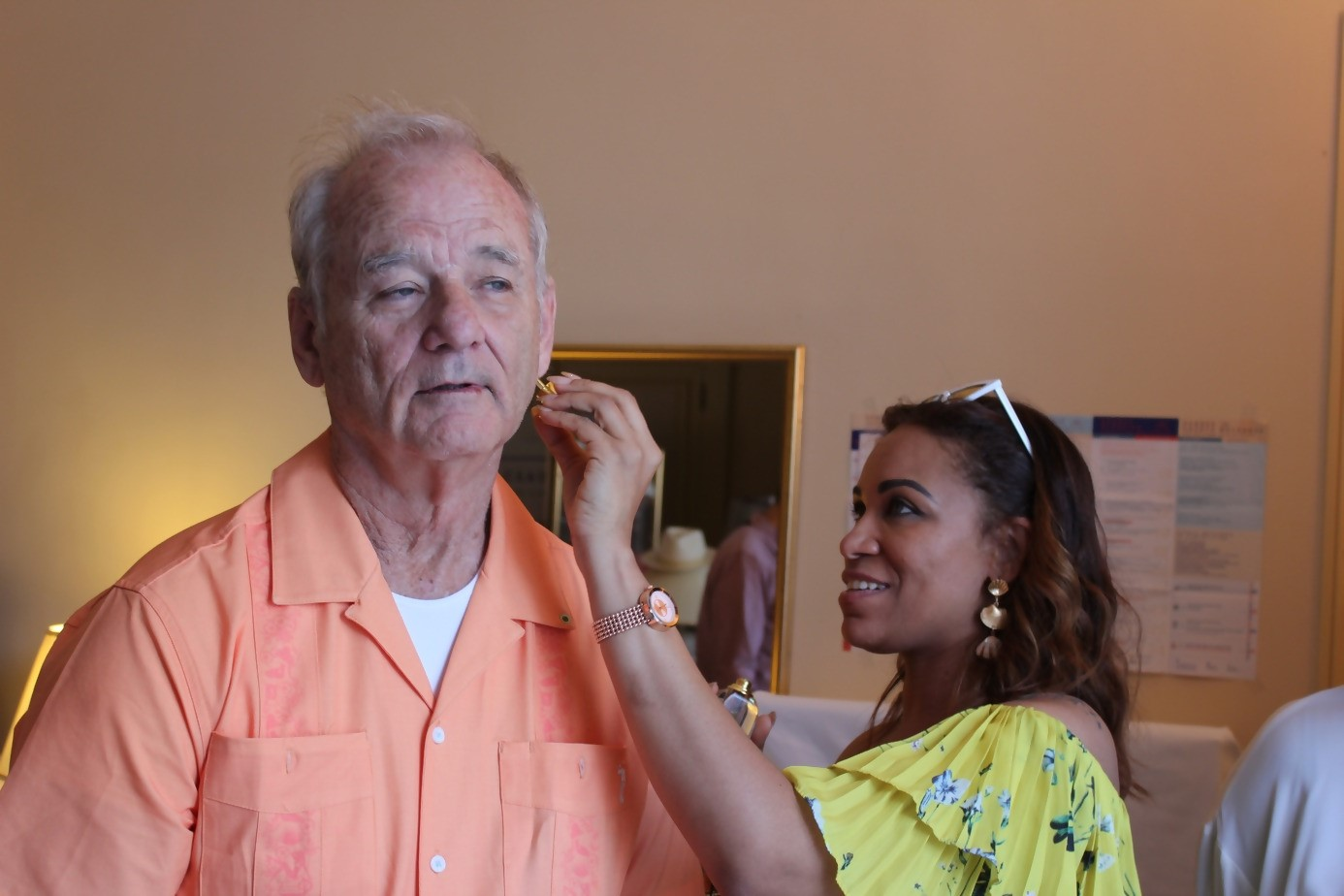 Me putting E.F. Nomad on Bill Murray during Cannes Film Festival (DPA Celebrity Suite)