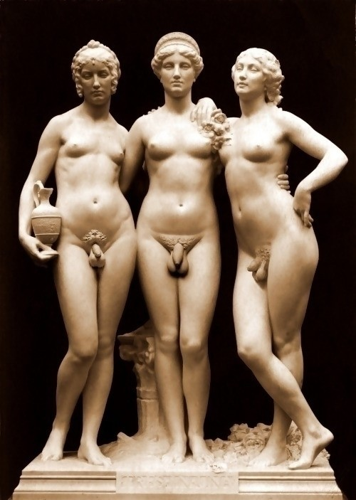 Ancient Roman sculptures of idealized beautiful hermaphrodites
