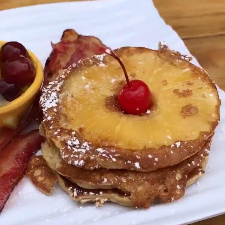 tangora terrace - pineapple upside down pancakes