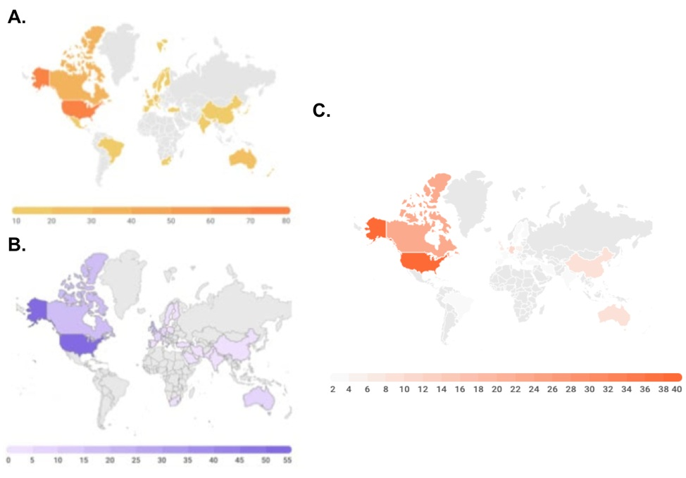 Geographic distribution of participants in the programme. (A) Round 1. (B) Round 2. (C) Round 3.