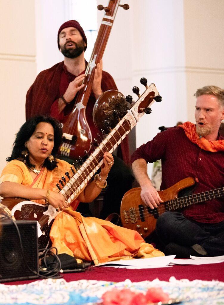 Vedic Vibe ensemble: Dhanesh Trimmer, Scott Fraser, Sarita McHarg. Picture: Martin Reddy