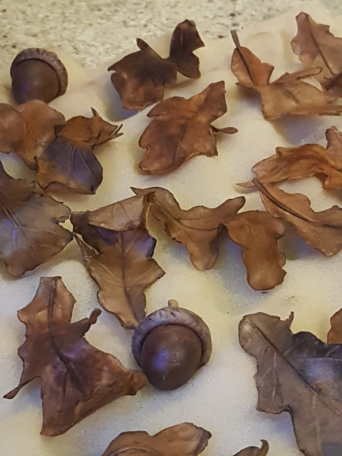 Sugar-crafted Acorns and Leaves