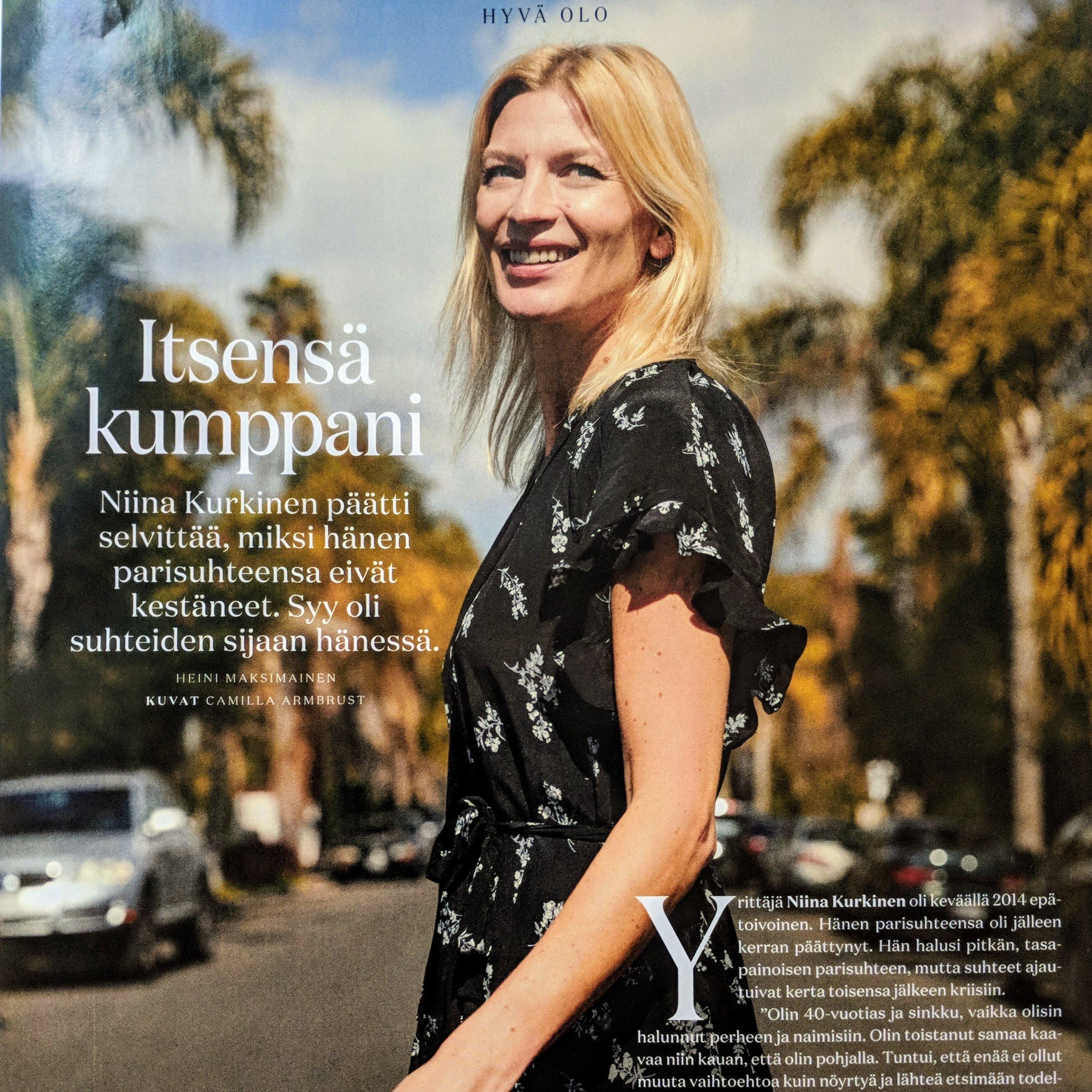 Trendi lehti, 07/2018   Yrittäjä Niina Kurkinen oli keväällä 2014 epätoivoinen. Hänen parisuhteensa oli jälleen kerran päättynyt. Hän halusi pitkän, tasapainoisen parisuhteen, mutta suhteet ajautuivat kerta toisensa jälkeen kriisiin.   Lue lisää