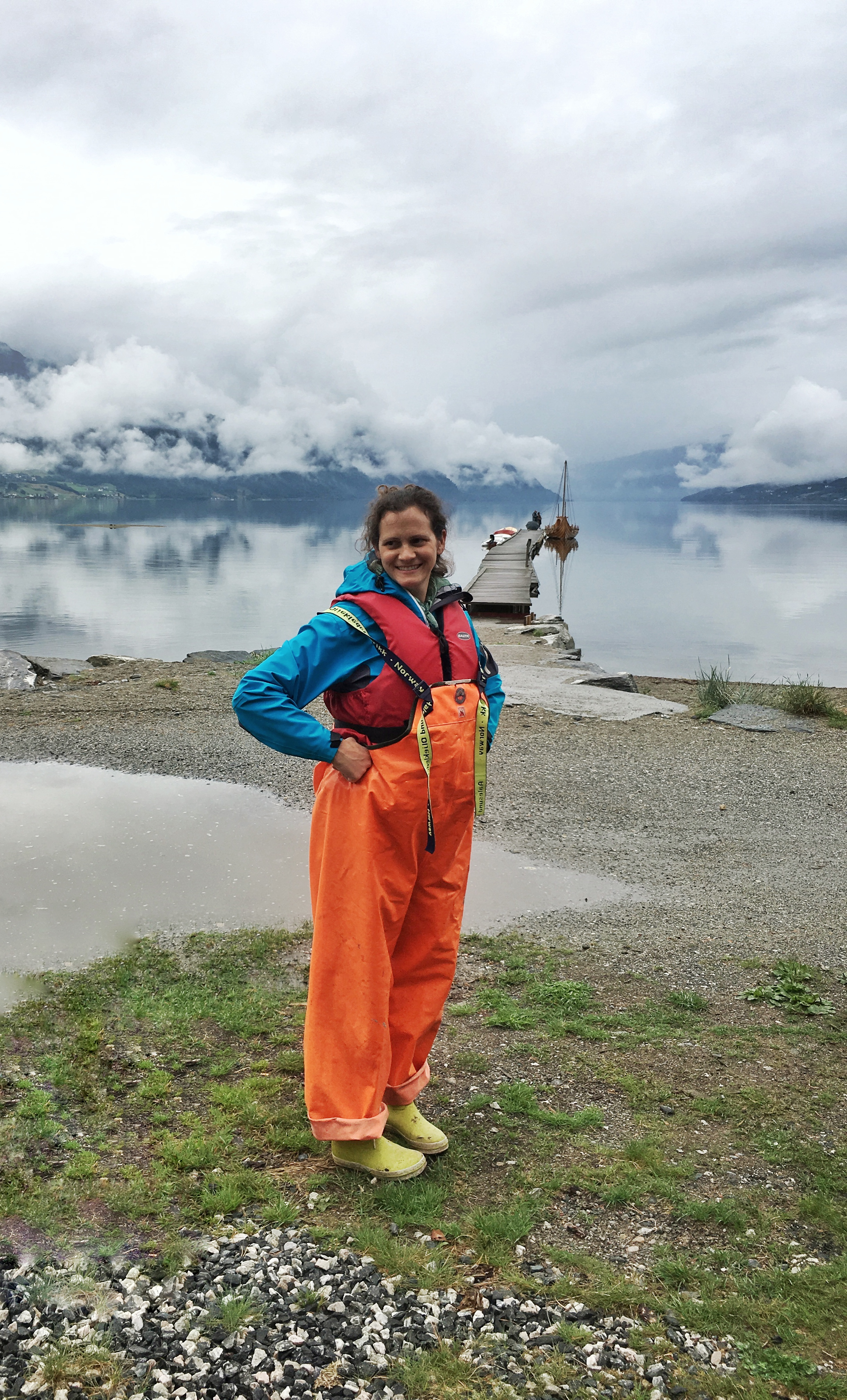 Summer of 2018 in Sandane, Norway - In lots of gear getting ready to go out on a small boat for fishing. We expected rain and dressed for it. I helped out with … taking the photos.