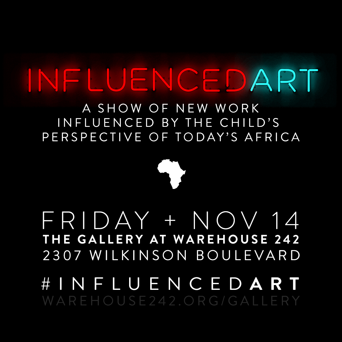 Influenced Art at Warehouse242 - November 2013 - January 2014The Gallery at Warehouses242 presents Influenced Art, a thought-provoking exhibition and collaboration between artists across the globe, local children of Charlotte, NC, and Rwandan artifacts. With this project comes the hope of inspiring new learning opportunities for people of all races, ages, and backgrounds. For more insight on the experience, visit Thomas's collaboration page.