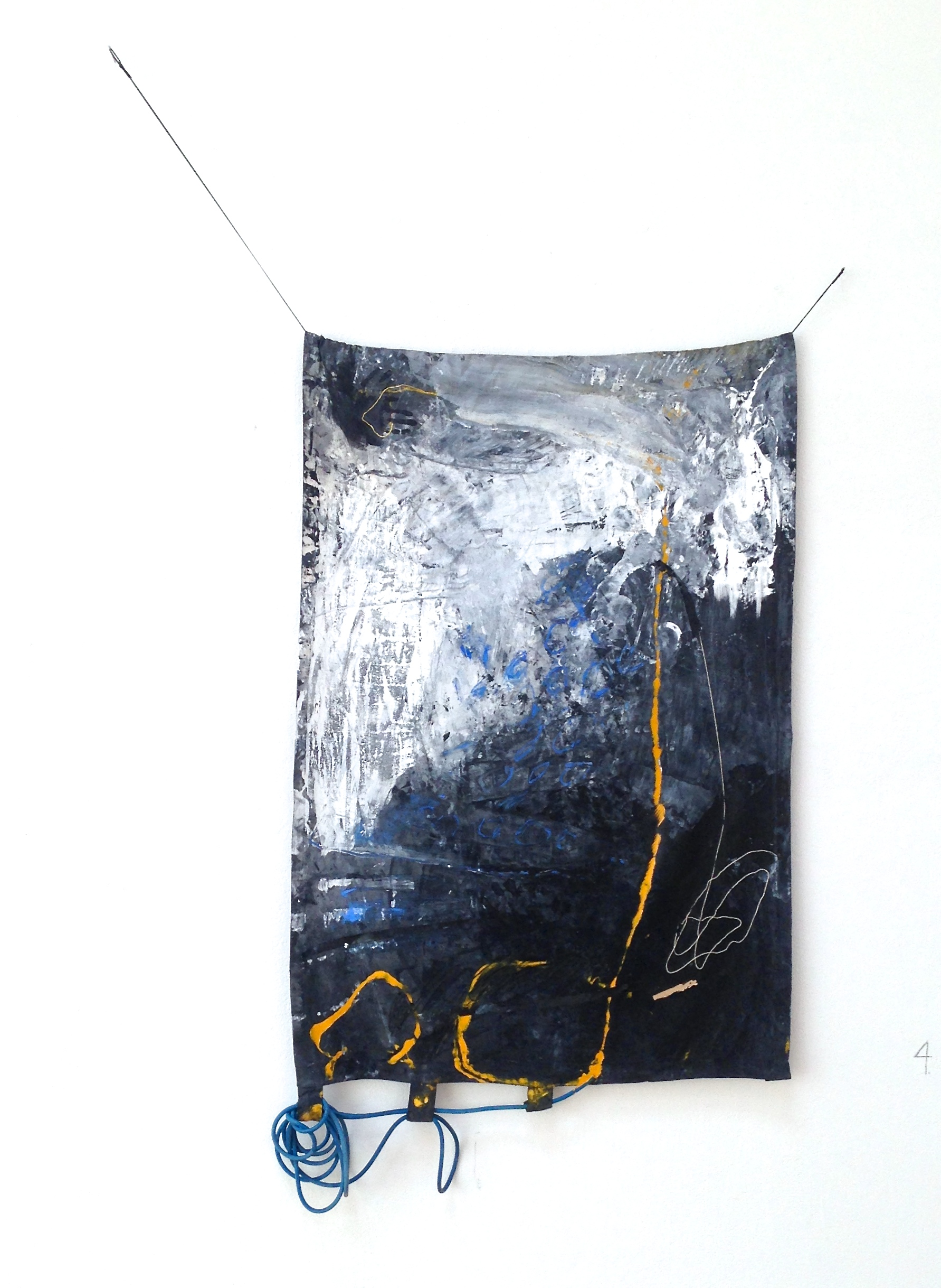 How I Hold It , latex and acrylic paints, tape, string, pastel, elastic cord, and exercise bands on canvas, 69×40 inches, 2015