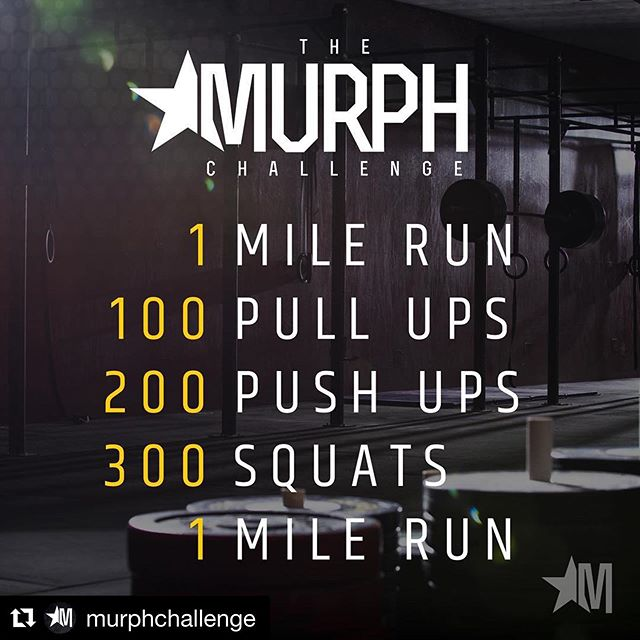 NEXT SATURDAY AT 9:30 MURPH! BBQ to follow! I hope all the hero wods we've done has prepared you! Bring friends, family, whomever. It's going to be a great time.