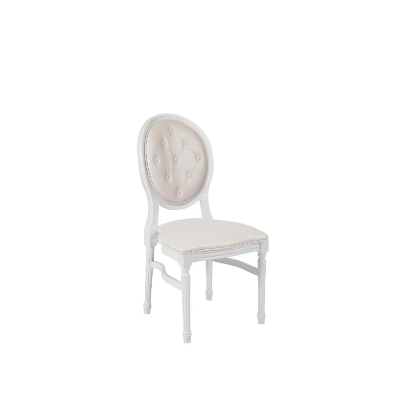 White Louis Tufted Chair    Atlanta Party Rentals