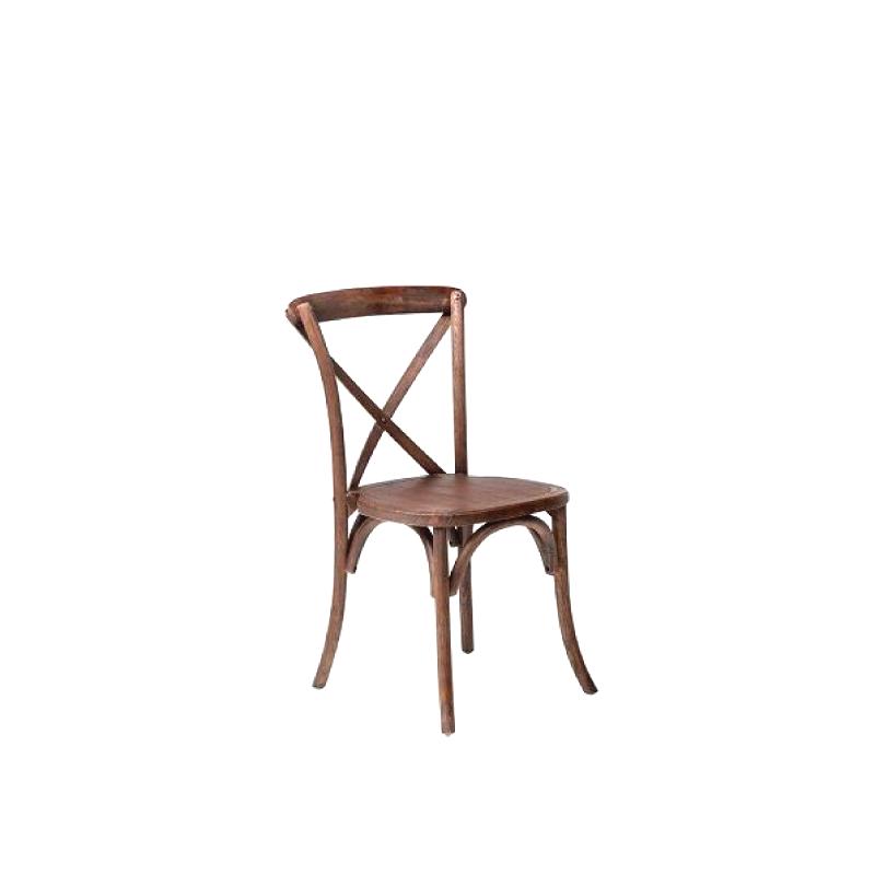 Cross Back Driftwood Chair    Atlanta Party Rentals