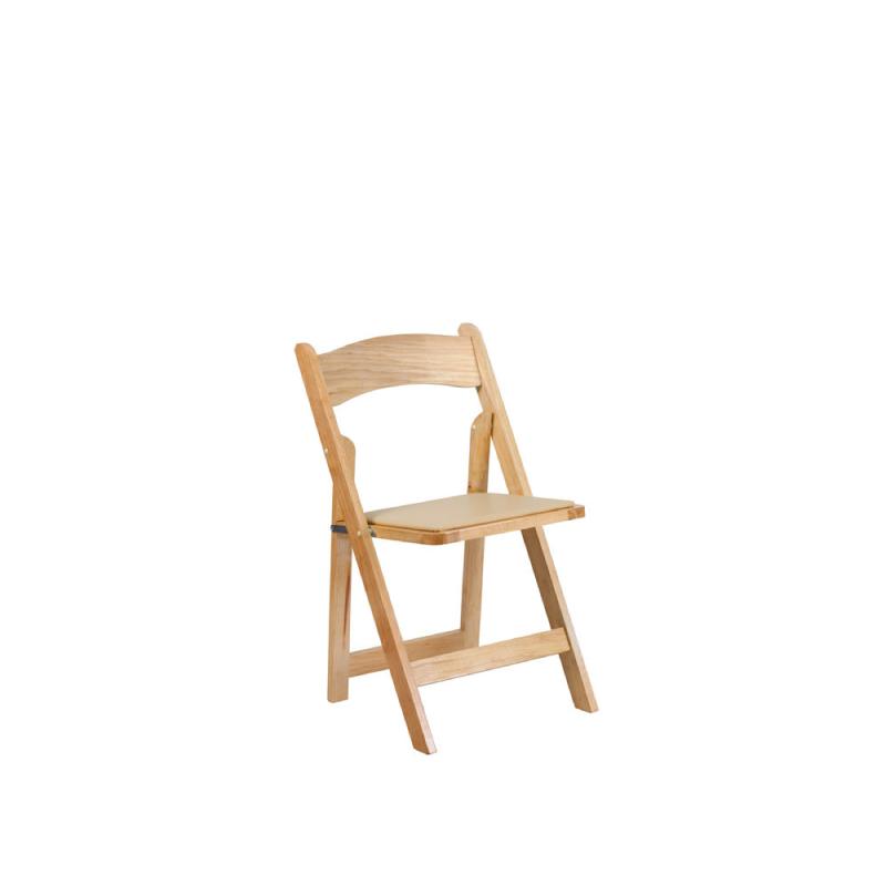 Natural Padded Folding Chair   Atlanta Party Rentals