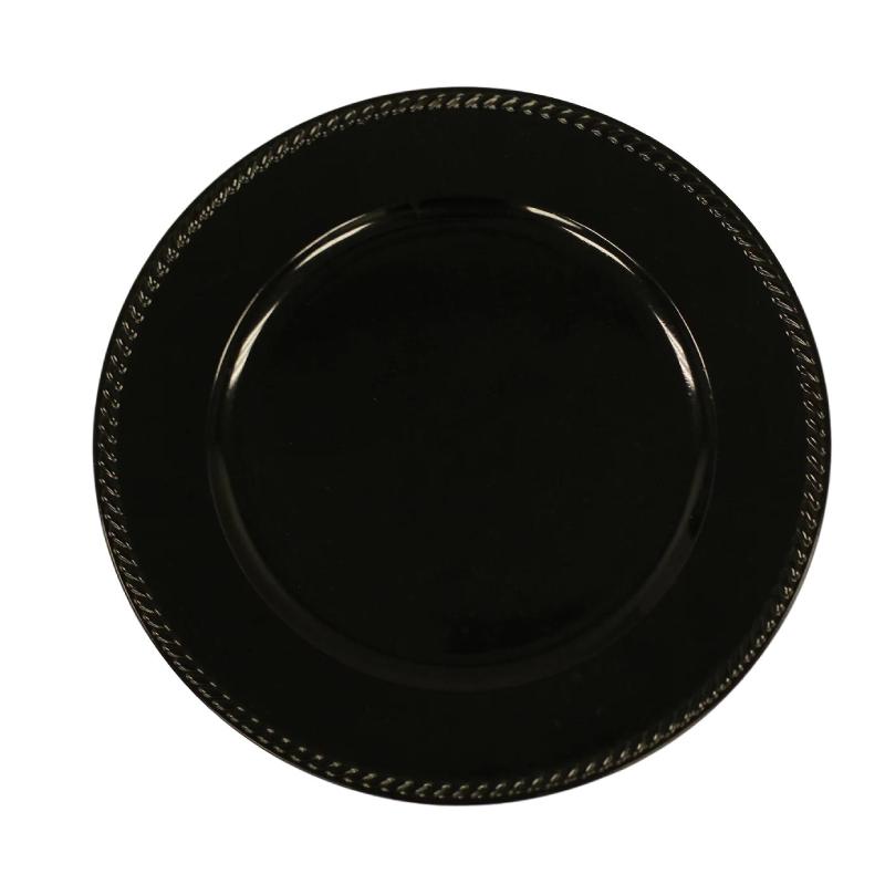 Black Ribbon Acrylic Charger | Atlanta Party Rentals