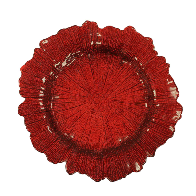 Red Sponge Glass Charger | Atlanta Party Rentals