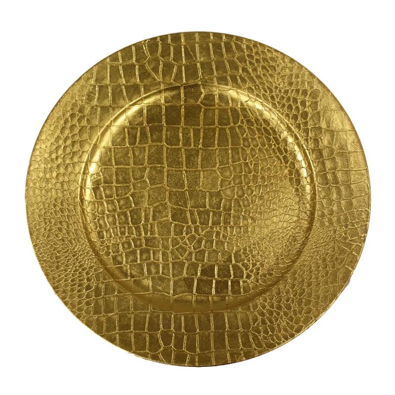 Gold Croc Acrylic Charger | Atlanta Party Rentals