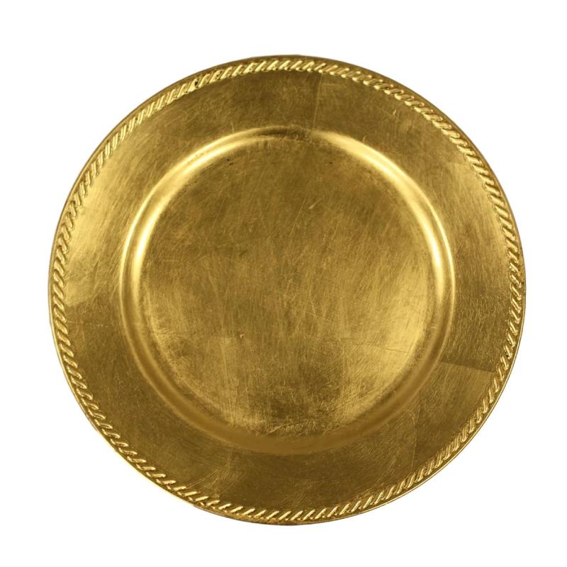 Gold Ribbon Acrylic Charger | Atlanta Party Rentals