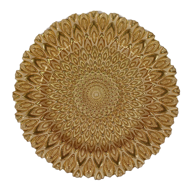 Gold Peacock Glass Charger  | Atlanta Party Rentals