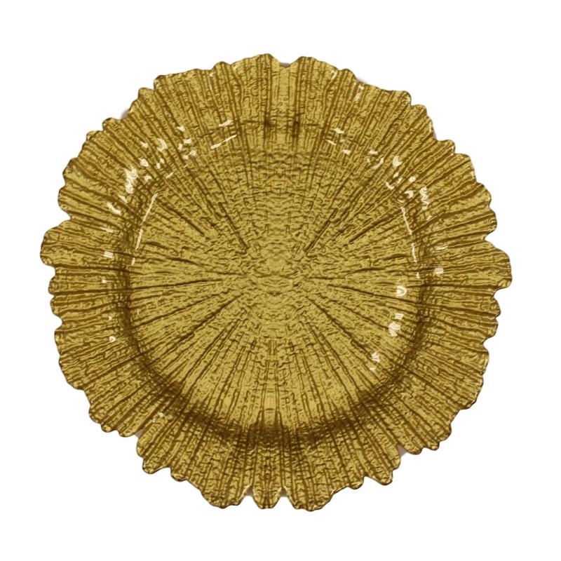 Gold Sponge Glass Charger  | Atlanta Party Rentals