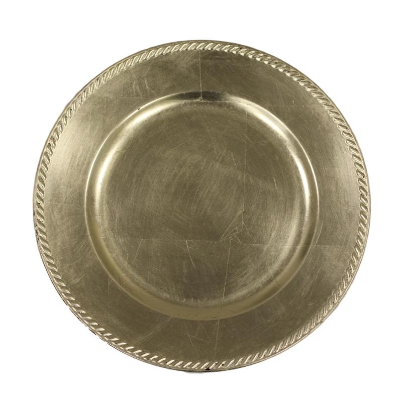 Silver Ribbon Acrylic Charger | Atlanta Party Rentals