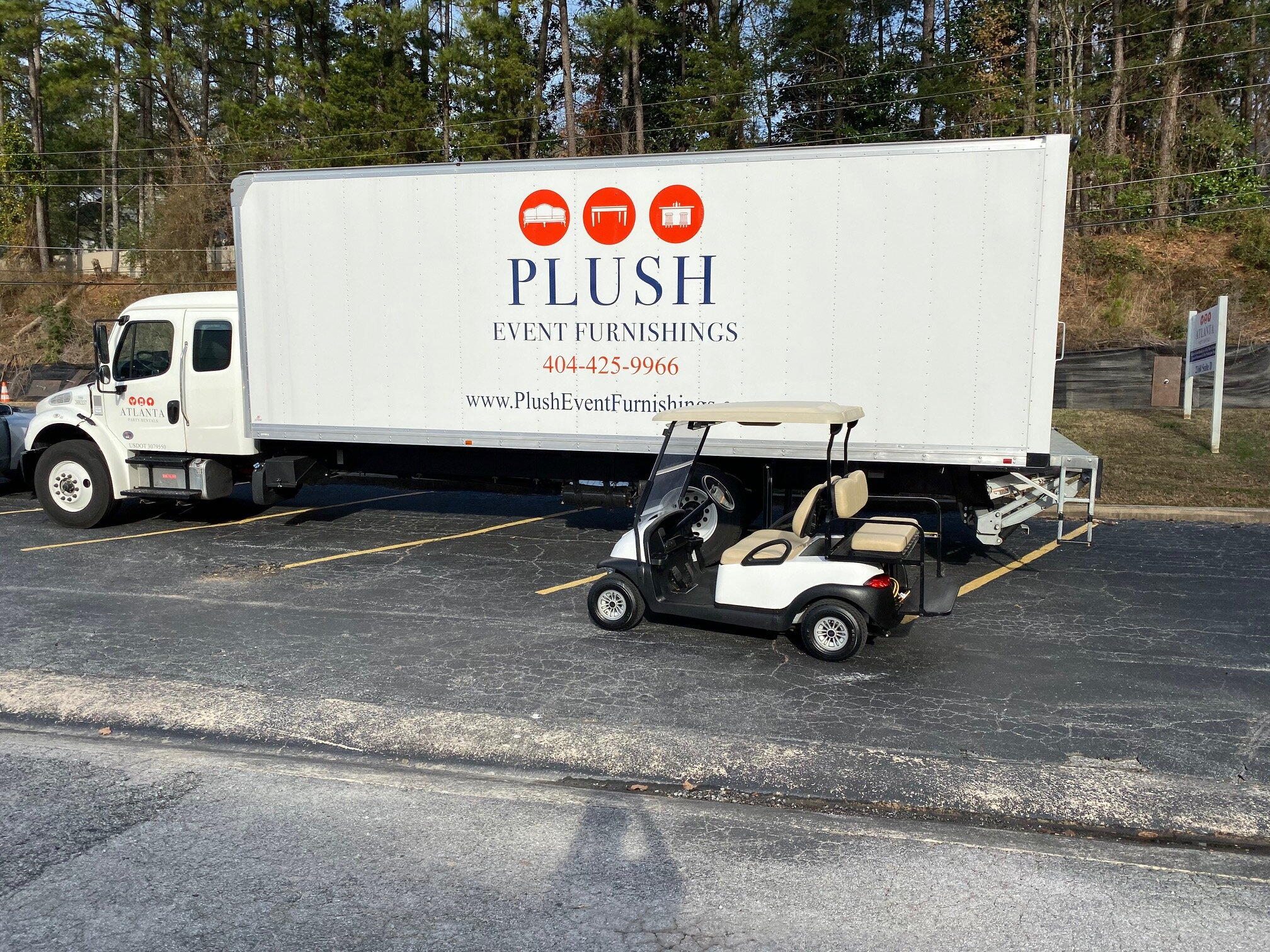 Our new PLUSH trucks and new golf cart, ready to take you on a tour of our 60,000 sq. ft warehouse!