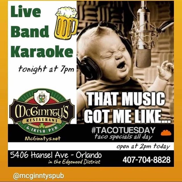 Live Band Karaoke every Tuesday at 7pm.  It's Taco Tuesday, also.  Join us for some great tacos and live music.  #frontmankaraoke  #musicatmcginntys  #mcginntysirishpub