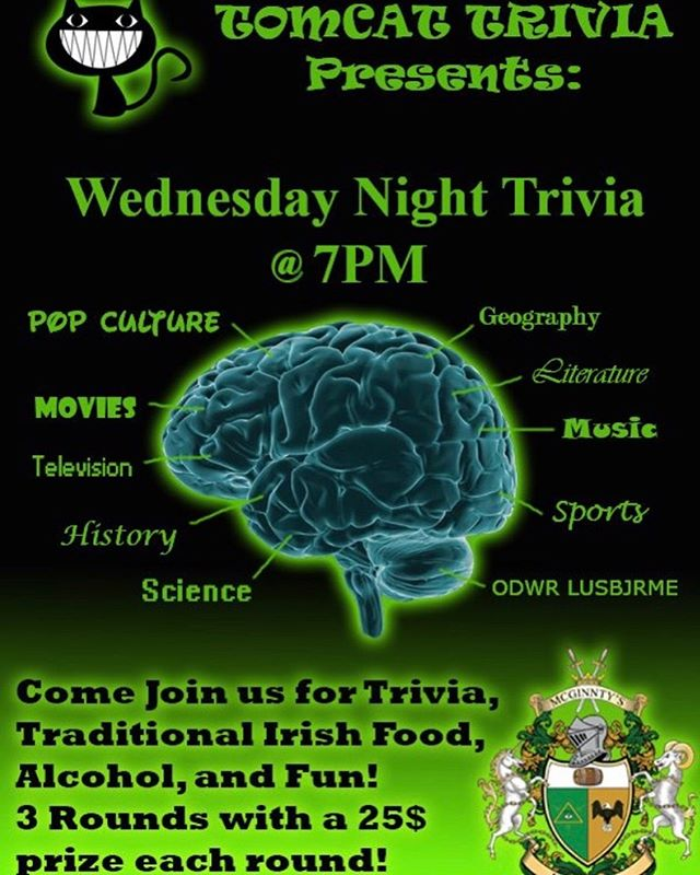 Join us for Trivia every Wednesday starting at 7pm.  Three individual rounds with a chance to win a $25 gift certificate for each winning team.  See you there!  #trivianight  #tomcattrivia  #mcginntysirishpub