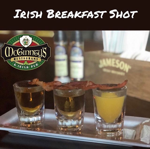 Jameson Irish Whiskey, Butterscotch Schnapps and OJ.  You can add bacon for part of this balanced breakfast.  #mcginntysirishpub