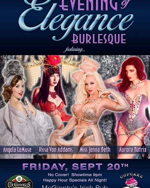 Join us for an Evening of Elegance Classic Burlesque.  This is a no cover event tonight starting at 9pm tonight.  See you there!  #cupcakeburlesque  #mcginntysirishpub