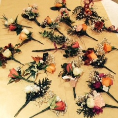 April 2014:  Sue, one of our members, showed us how to make a corsage.