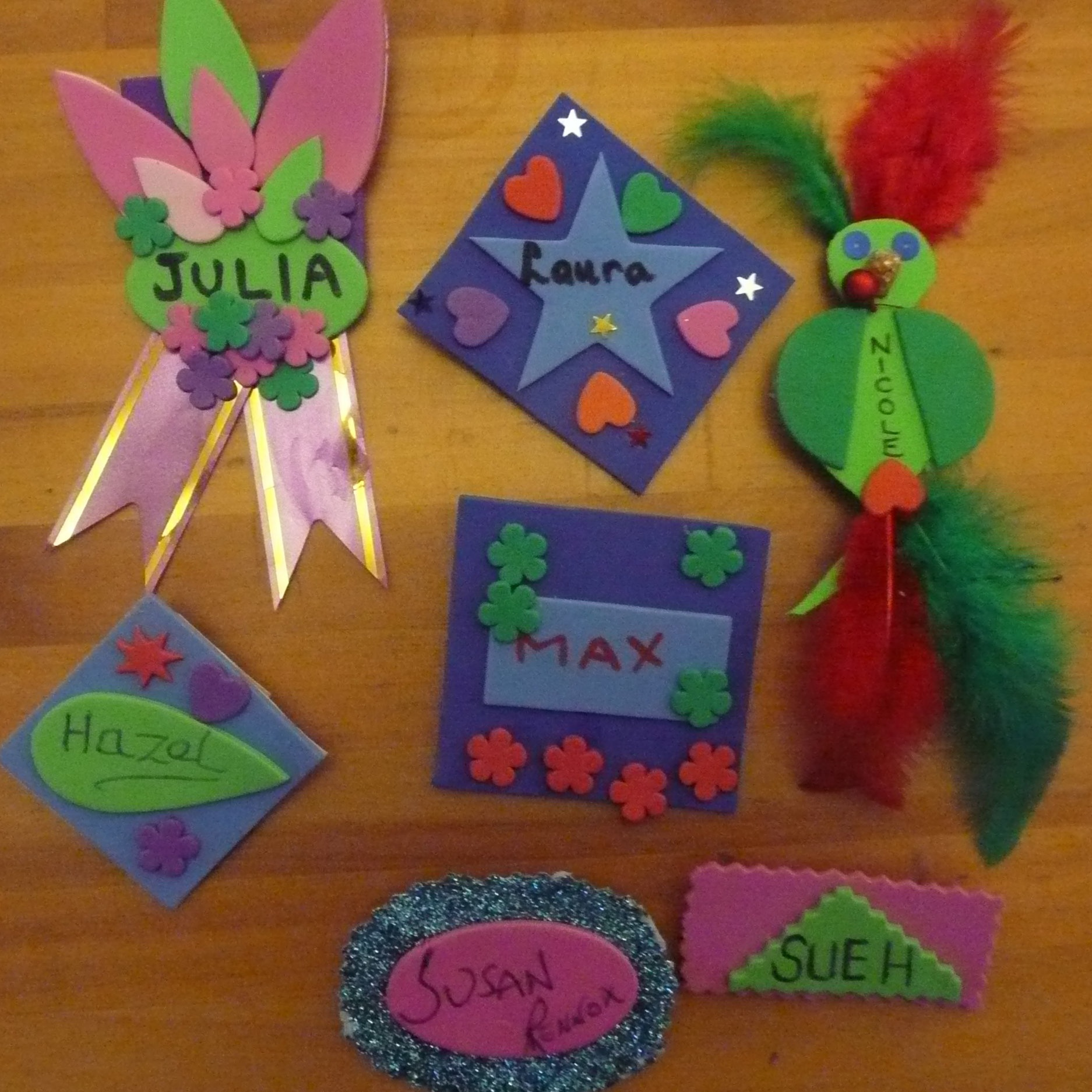 January 2015:  We all made name badges.