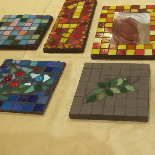 September 2015:  Wendy ran a mosaic making session and we had some very creative results.