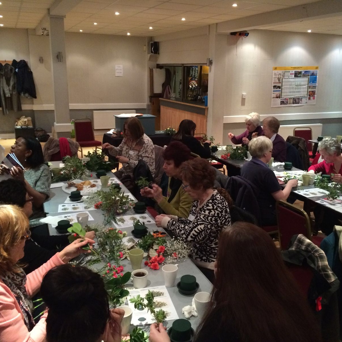 February 2016:  We had a go at flower-arranging, led by Sue.