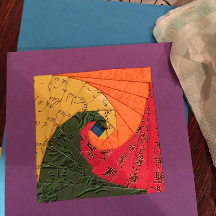 March 2017:  We had a go at Iris folding to make cards.