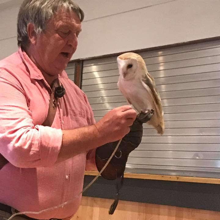 June 2017:  Randal Carey brought some of his large collection of birds of prey for us to meet.