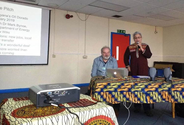 Amanda Latimer (r) and Andy Higginbottom (l) at the Pan Afrikan Society Community Forum (PASCF)