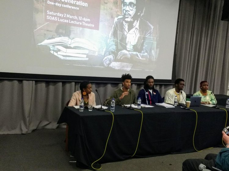 The Student Panel: from left, Lavinya Stennett, Kevin Okoth, Kevon Jones, Hamza Hadji, and Sidi Abale