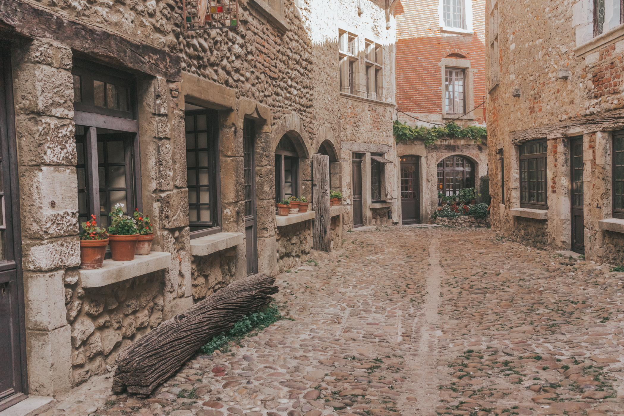Cobblestone street small French Village, Perouges