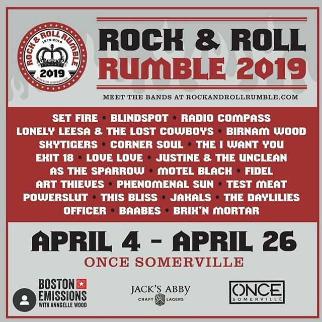 This Friday we rock @oncesomerville for the @rocknrollrumble with @skytigers_music @asthesparrowmusic and @loveloveband SEE YOU THERE