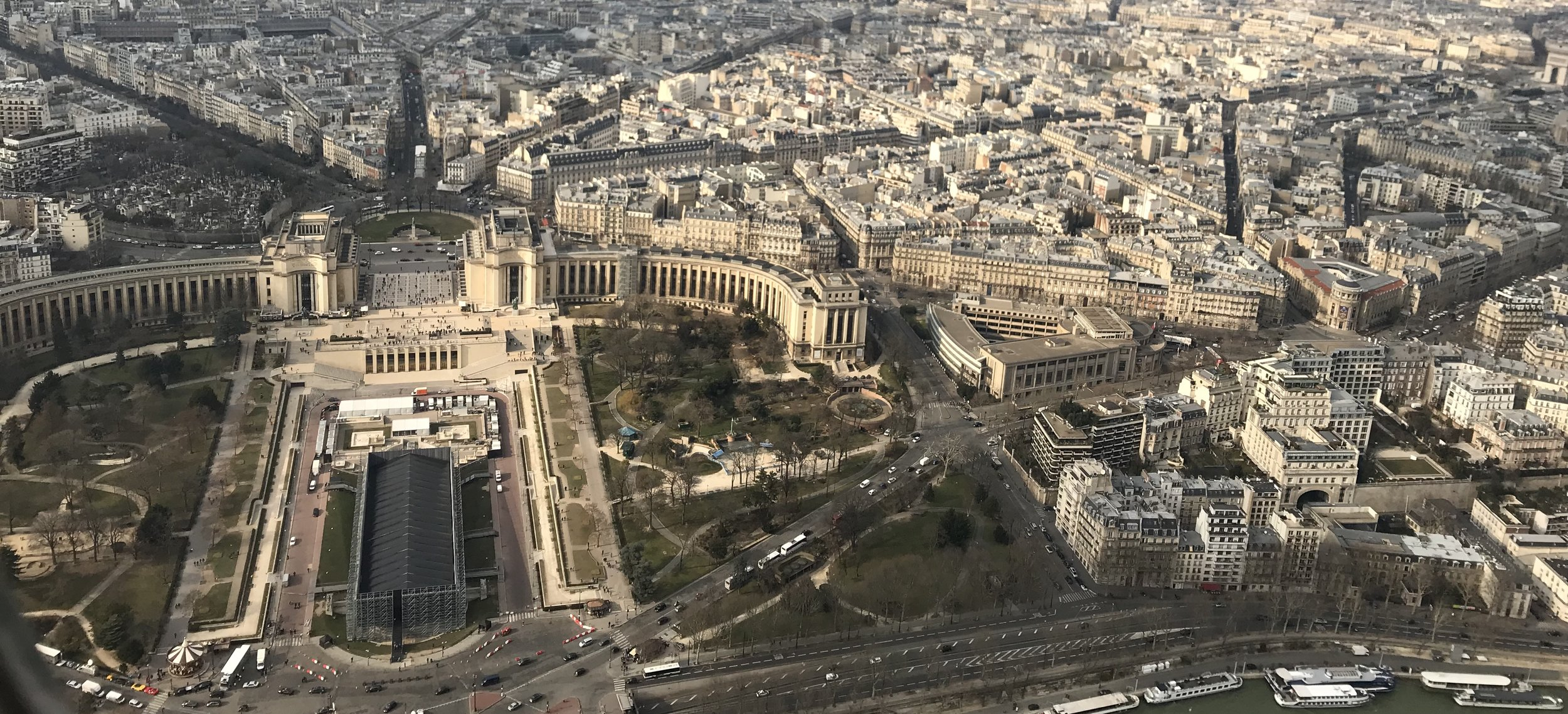 Image: An aerial view of the streets of Paris, showing the famous system that was deliberately designed by Haussmann during Napoléon III's era to alleviate overcrowding and bring order to the city center.