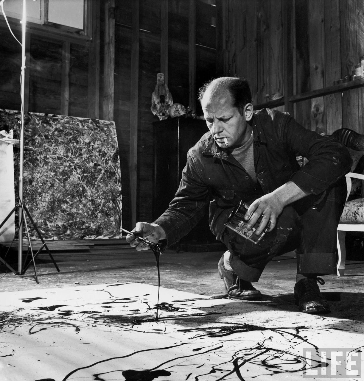 Jackson Pollock at work, image by Life Magazine