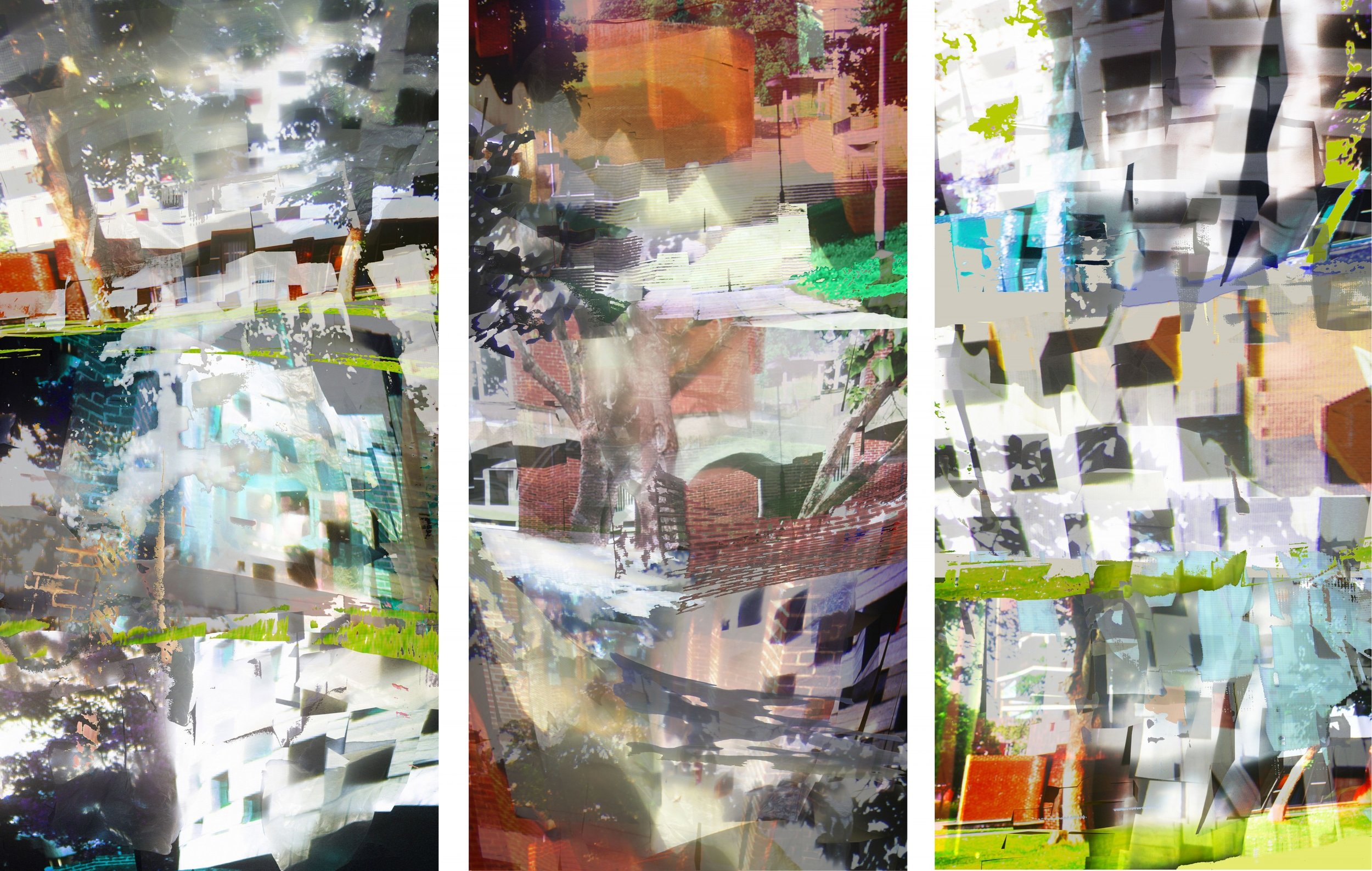 Final edit of curtain panels for the bedroom window with imagery created from Falmer Campus photography