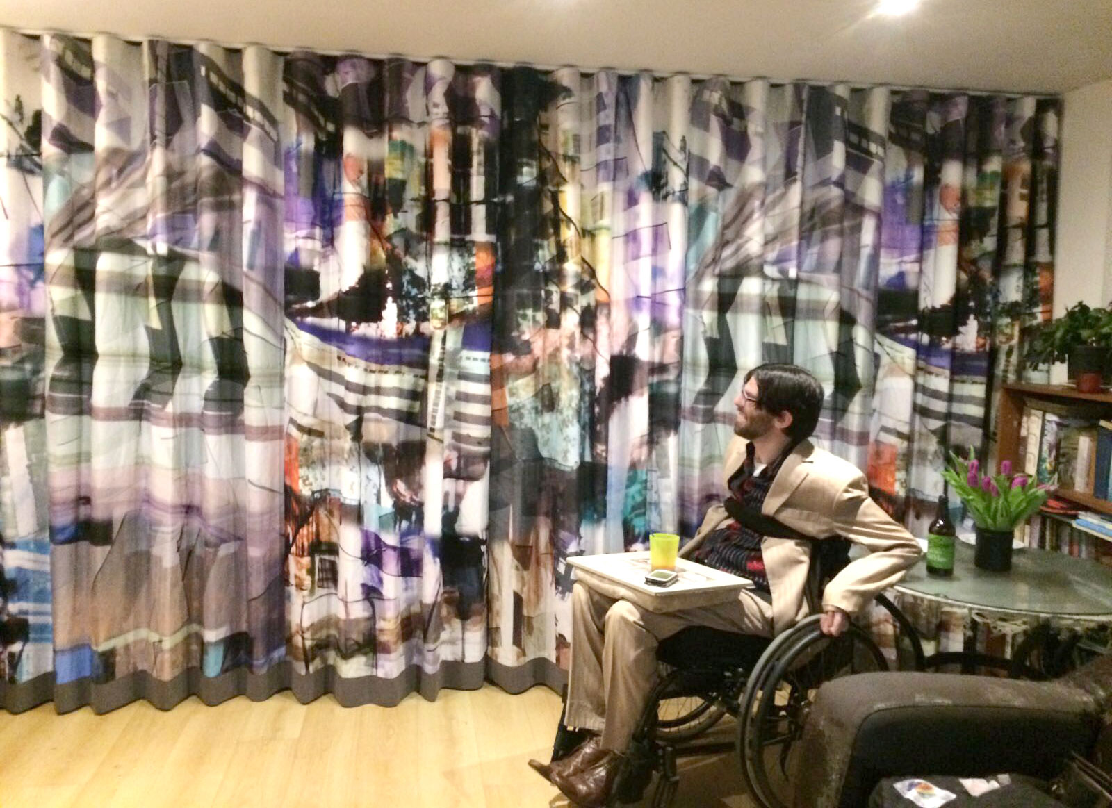 Client pictured with new printed curtains for the living room, installed February 2017, Brighton & Hove, East Sussex