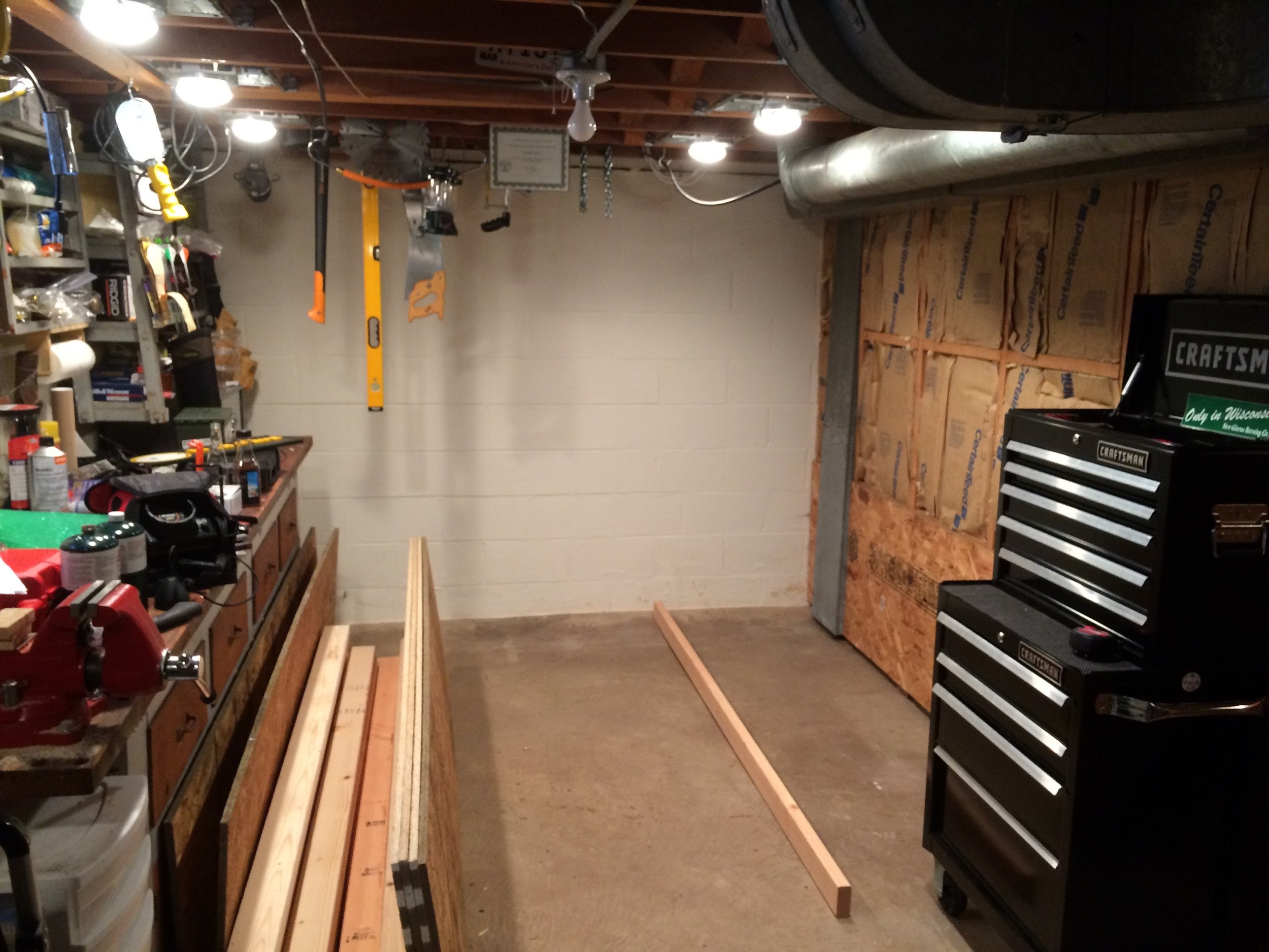 The corner I plan to build the shelves in the work area of our basement.
