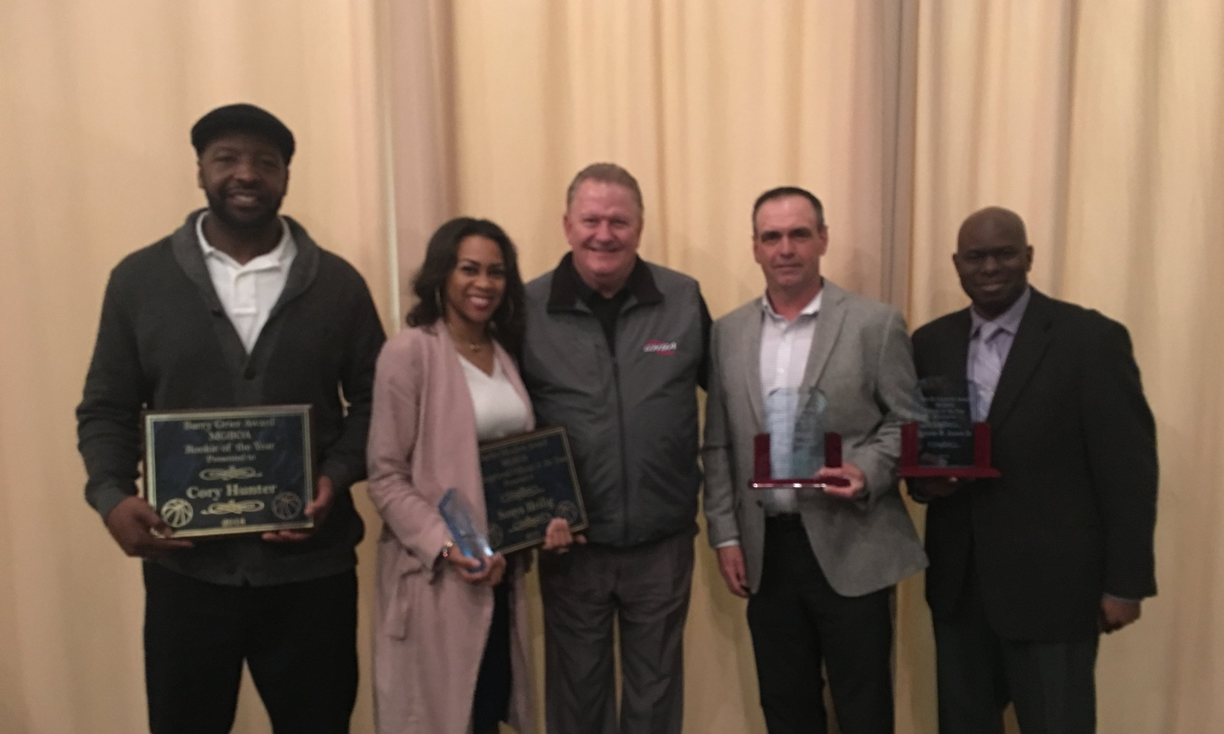 From Left to Right: Corey Hunter (Rookie of the Year), Sonya Heilig (Most Improved), Ernie Yarbroug (GHSA Assistant Executive Director), Ken Clampitt (Official of the Year), Tyrone Jones (Official of the Year)