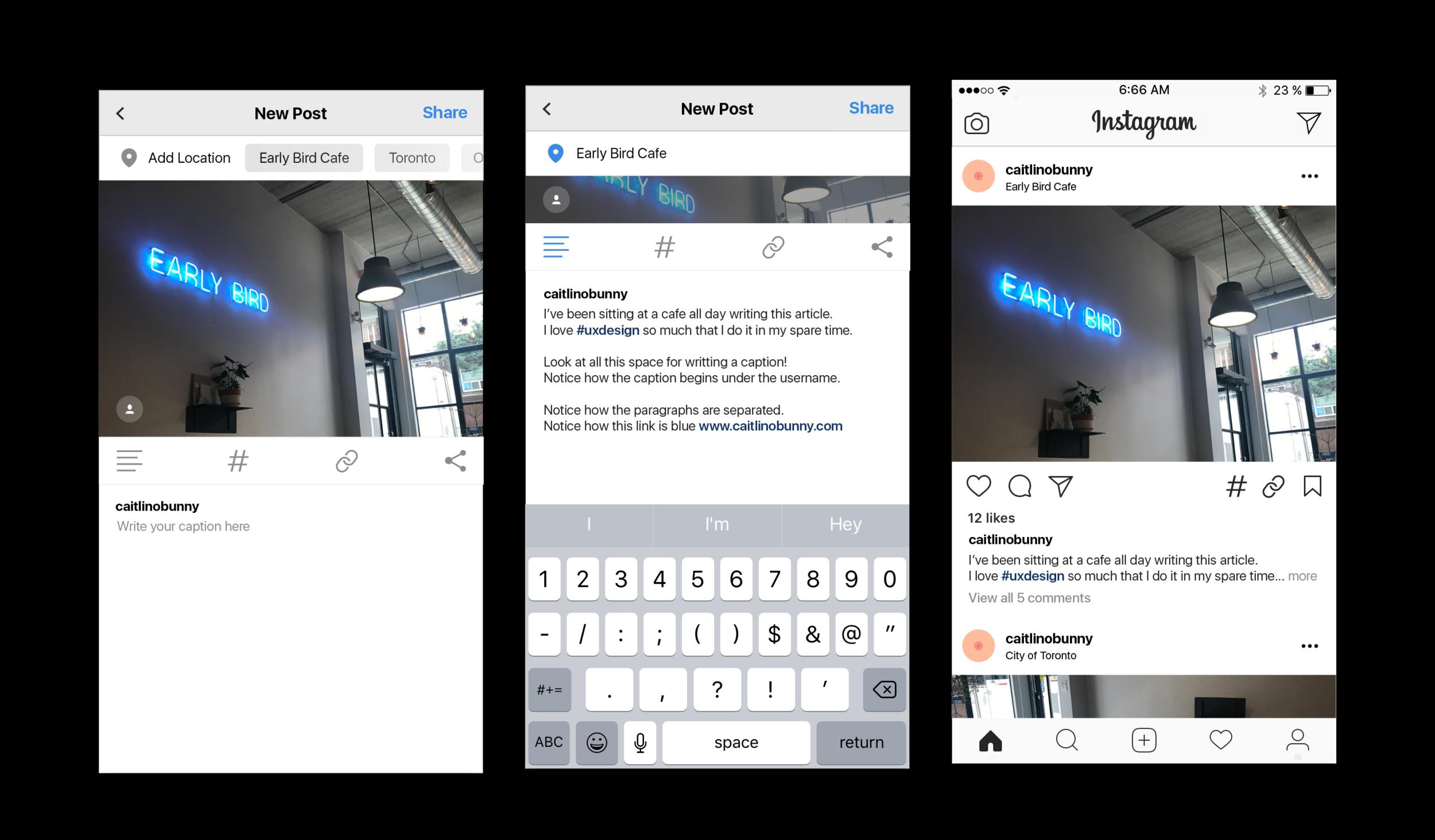 Instagram - New Captions UX — Caitlin O'Bunny
