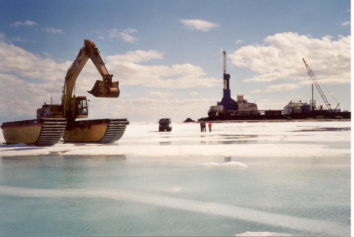 Amphibious Backhoe on Late Winter Ice