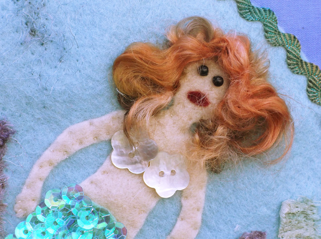 Mermaid Embroidery Hoop Picture - a combination of sewing and felting