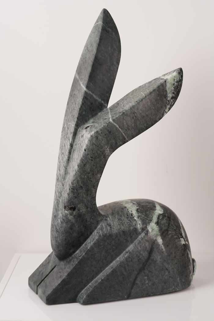 """The Mother Rabbit   Indian Fusion Soapstone  7"""" W x 13"""" L x 20"""" H  Jason Carter, 2018  SOLD"""