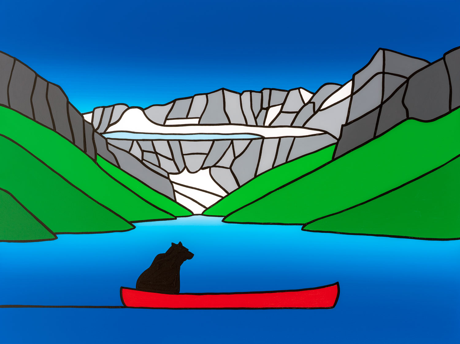 "The Curious Bear In A Red Canoe At Lake Louise   40"" x 30"" Acrylic on Canvas  Jason Carter, 2018  SOLD"