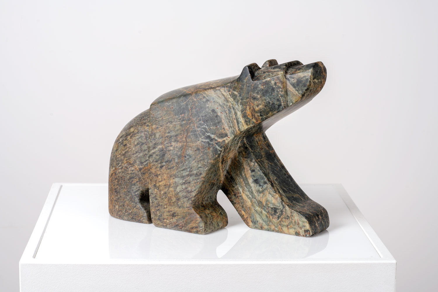"""The Excellently Optimistic Walking Bear   Canadian Soapstone  5"""" W x 13"""" L x 10"""" H  Jason Carter, 2018  SOLD"""