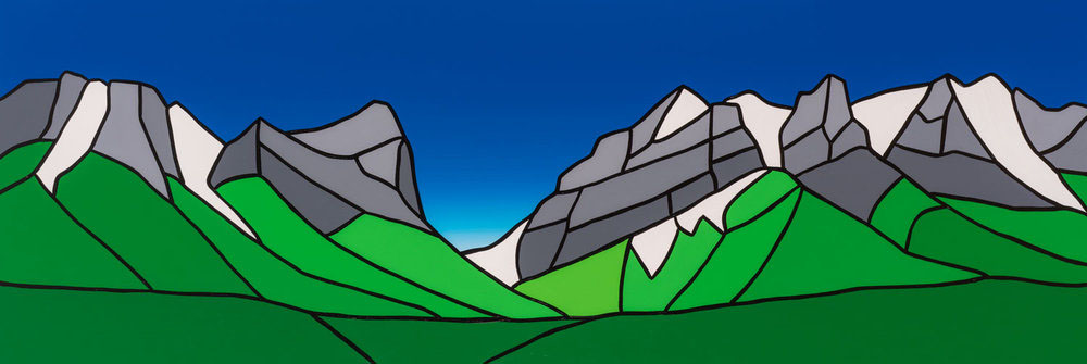 "Ha-Ling Peak / Bow Valley 2   72"" x 24"" Acrylic on Canvas  Jason Carter, 2018  SOLD"