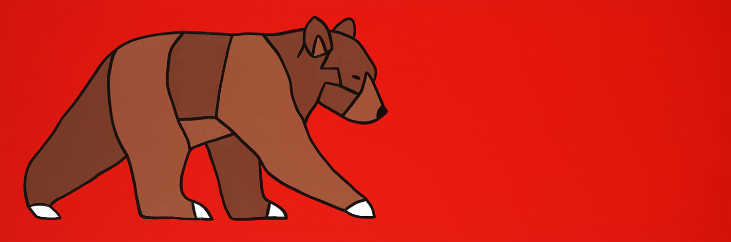 "The Curious Bear Cub On Red   60"" x 20"" Acrylic on Canvas  Jason Carter, 2017  $3350"